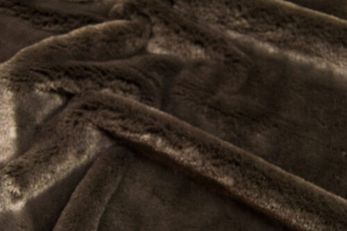 Faux fur by the metre Luxurious imitation rabbit faux fur fabric per meter, brown, 100% recycled – 2R400 Mole