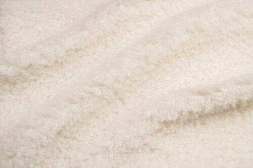 Faux fur by the metre Luxurious teddy faux fur fabric per meter, cream, 100% recycled – 2R402 Cream