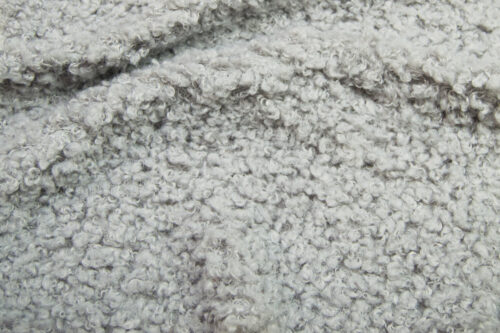 Faux fur by the metre Luxurious teddy faux fur fabric per meter, light grey, 100% recycled – 2R402 Lt.Grey