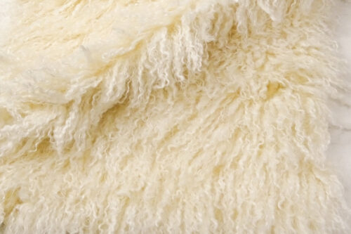 Faux fur by the metre Long pile, Curly faux fur fabric by the meter, Mongolian Lamb, Cream – 3129 Cream