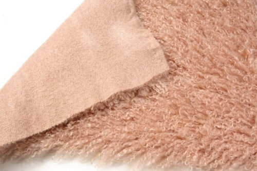Faux fur by the metre Long pile, Curly faux fur fabric by the meter, Mongolian Lamb, Light Pink – 3129 Dusky Pink