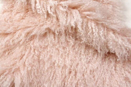 Faux fur by the metre Long pile, Curly faux fur fabric by the meter, Mongolian Lamb, Pink – 3129 Pale Pink
