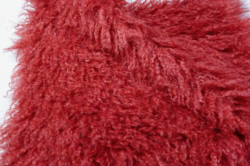Faux fur by the metre Long pile, Curly faux fur fabric by the meter, Mongolian Lamb, Red – 3129 Red Haze