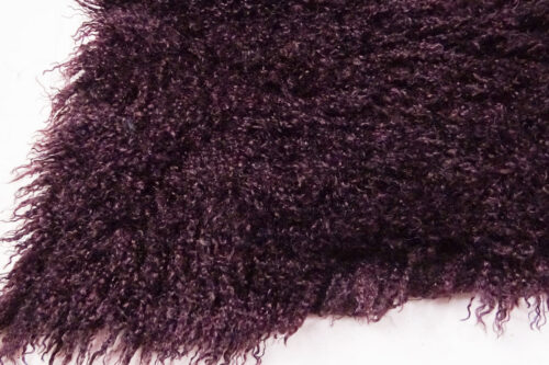 Faux fur by the metre Long pile, Curly faux fur fabric by the meter, Mongolian Lamb, Wine Red – 3129 Wine