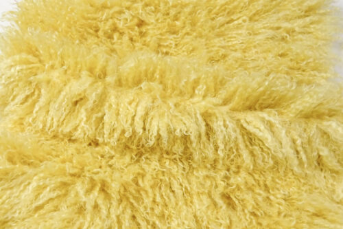 Faux fur by the metre Long pile, Curly faux fur fabric by the meter, Mongolian Lamb, Yellow – 3129 Yellow
