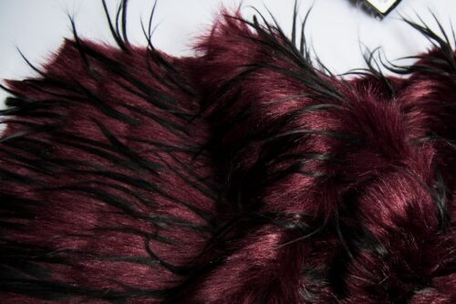 Faux fur by the metre Dark Red Eyelashed Faux Fur Fabric by the Metre – 1604 Wine Black