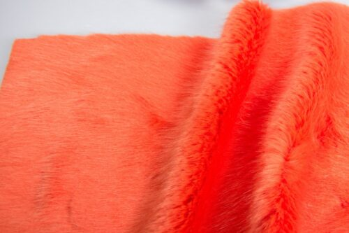 Faux fur by the metre Luxury faux mink fur fabric, super soft, red – Saluki 3025 Flame