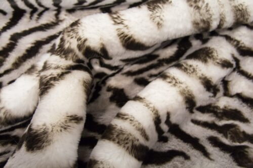 Faux fur by the metre Super soft Grey Tiger rabbit style faux fur fabric – 3105 Tiger Grey