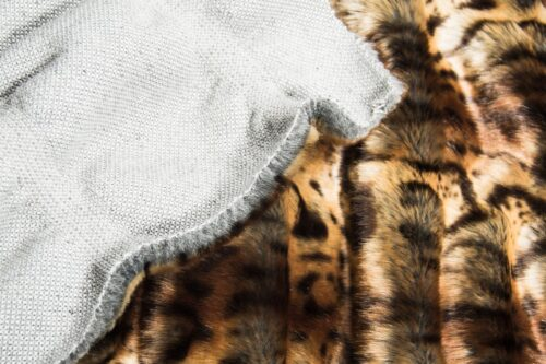Faux fur by the metre Brown Textured Ocelot Faux Fur Fabric By The Metre – 3112 Beige/Brown