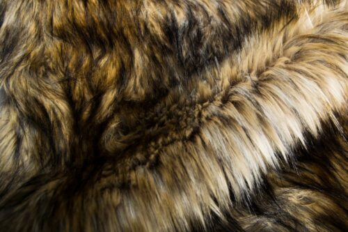 Faux fur by the metre Brown Coyote Faux fur fabric by the metre – 7592 Brown/Silver