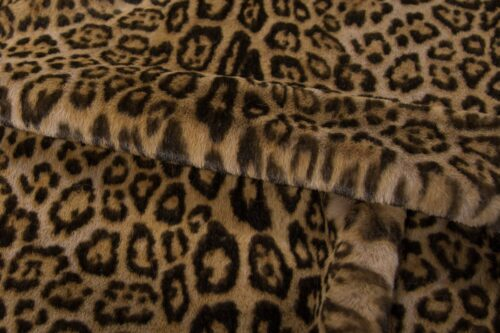 Faux fur by the metre Brown Leopard Faux Fur Fabric By The Metre – 3127 Taupe/Brown