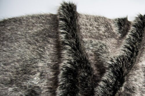 Faux fur by the metre Luxurious grey/black fox faux fur fabric by the meter – 1405 Charcoal