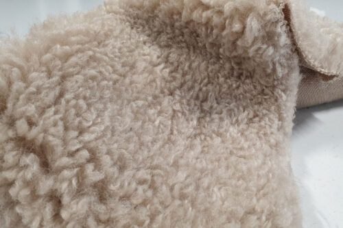 Faux fur by the metre Pebble teddy faux fur fabric by the metre – 2R374 Pebble